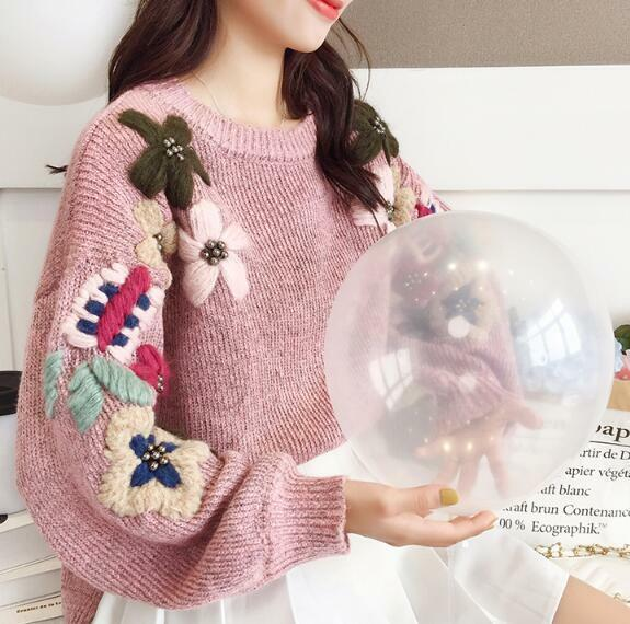 2019 Womens Girls Sweet Embroidery Flowers Loose Lazy Knitted Sweaters Blouses