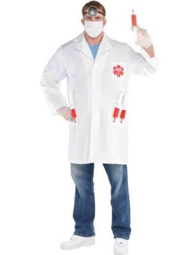 Adult Medical Doctor Scientist Costume Kit Fancy Dress Lab Coat /& Syringes
