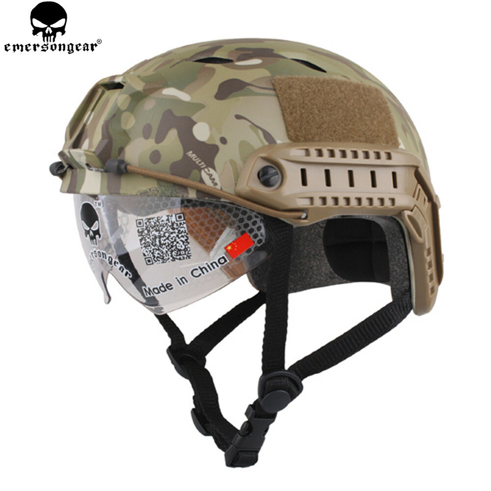 EMERSON Tacitcal BJ Type FAST Helmet With Predective Goggle  Airsoft Casque MC CP  at cheap