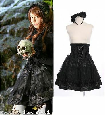 RQ-BL Dracula Gothic Lolita SET Rock Schleife Steampunk Skirt Bow 21113 Black