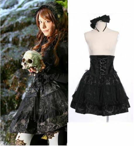 RQ-BL Dracula Gothic Lolita SET Rock Schleife Steampunk Skirt Bow 21113 Black