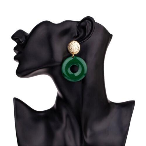Retro Acrylic Geometry Dangle Earrings Big Round Circle Drop Earring Women CB