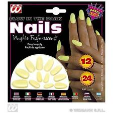 Ladies Glow In The Dark False Nails Set Witch Halloween Fancy Dress Accessory