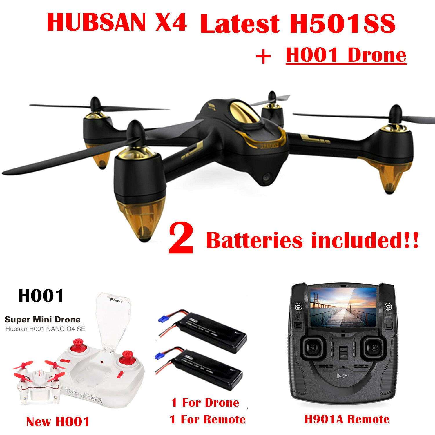 Hubsan H501S Drone FPV RC Quadcopter 1080P HD Camera Follow Me RTH GPS,