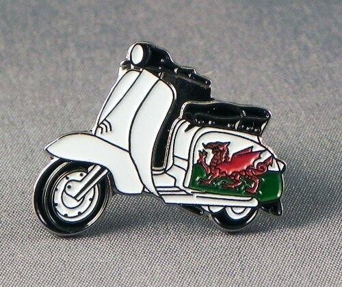 Metal Enamel Pin Badge Brooch Italian Scooter Lam Mod Biker Wales Welsh Dragon