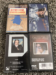 Lot Of 4 Country Music Cassette Tapes Reba Hank Williams Sr Kenny Rogers