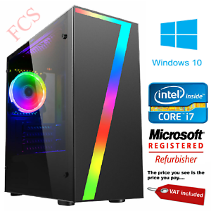 Gaming-PC-Quad-Core-i7-Computer-SSD-HDD-4-16-GB-RAM-GT-GTX-GFX-Windows-10-WiFi
