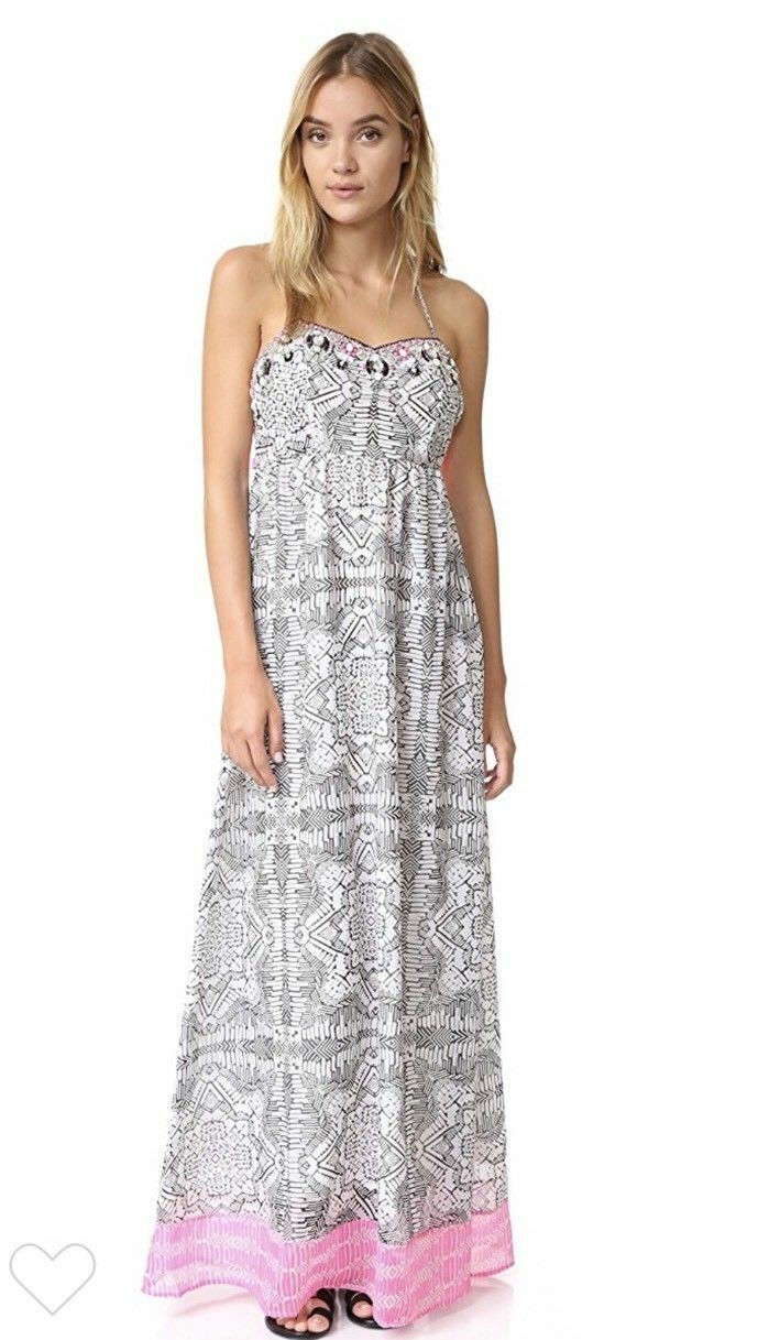 Yumi Kim Embellished Crystals Capri Maxi Halter Dress In Batik Ink Größe L