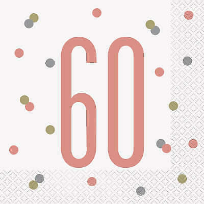 Milestone Ages Birthday Party//Cake Rose Gold 2 Ply Luncheon Napkins Ass Qty