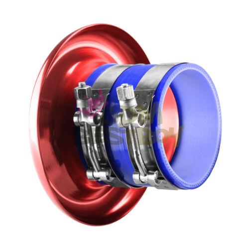 "4/"" Gunmetal Short Ram Intake Turbo Horn Aluminum Velocity Stack Silicone Hose"