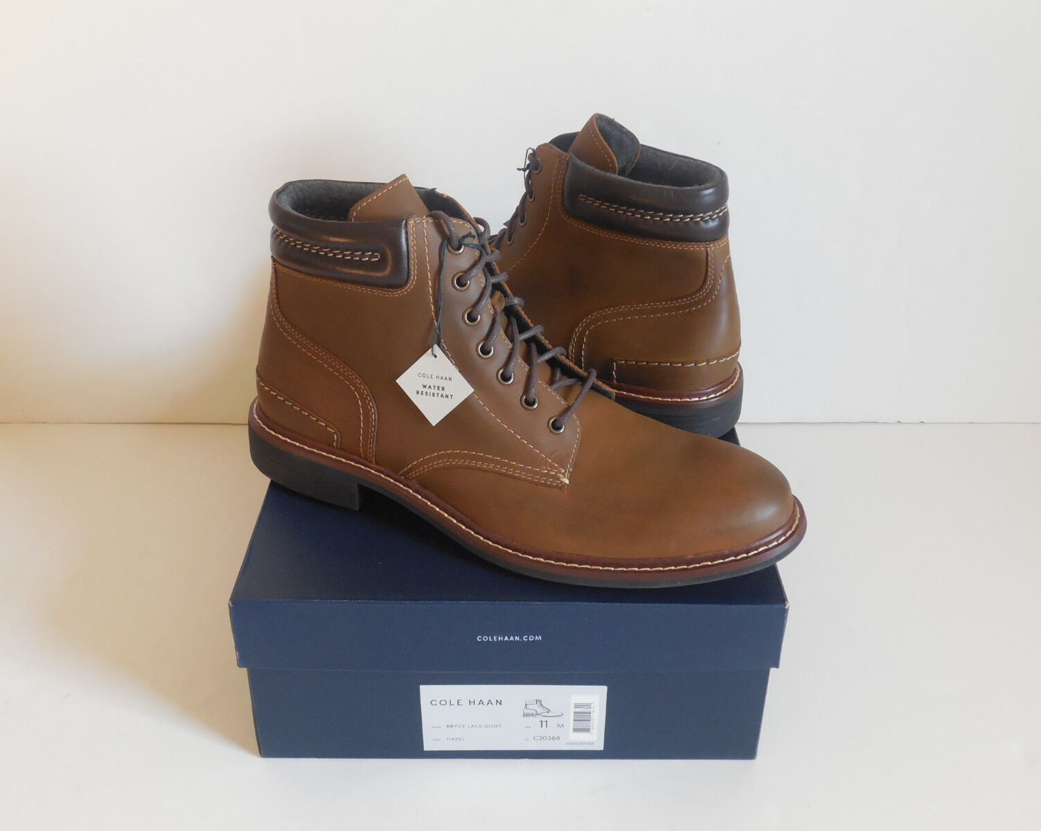 Cole Haan Bryce Leather Lace-Up Water Resistant Men's Boots Size 11M New