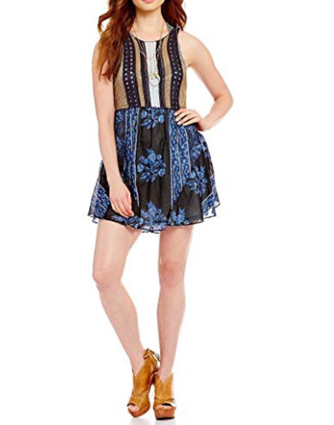 Free People Katie's Crochet Mini Dress bluee Combo NEW Ob585997 Med Y6