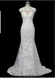 UK-White-Ivory-Boat-Neck-Bridal-Beaded-Lace-Simple-Mermaid-Wedding-Dresses-Size
