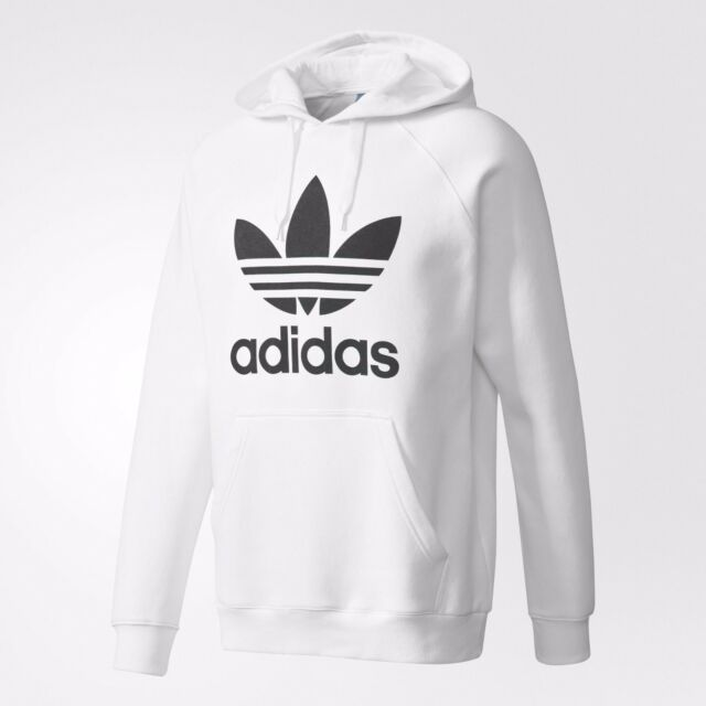 8eb78a790668 NEW MEN S ADIDAS ORIGINALS TREFOIL PULLOVER HOODIE ~SIZE XL  AY6474 WHITE