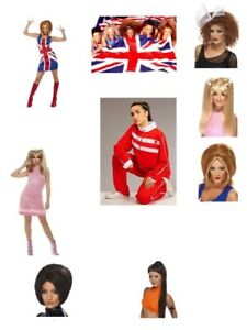 Women-039-s-Spice-Girl-Fancy-Dress-Wig-Sets-Scary-Sporty-Baby-Ginger-Posh-Hen-Party