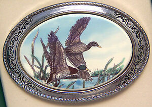 Belt Buckle Barlow Scrimshaw Carved Painted Art Mallards Flight Silver 592120c