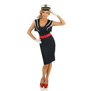 Womens 1950s Pin Up Girl Cadet Sailor Costume Rockabilly ...