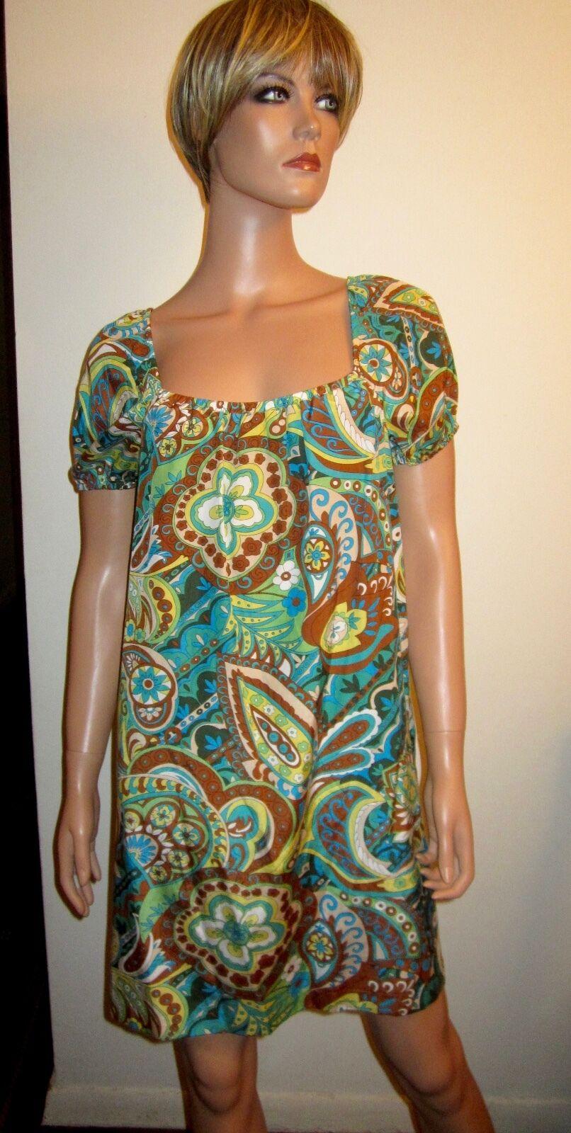 New Tibi Silk Blend  Paisley Print Shift Dress S 6 Short Sleeve Boho