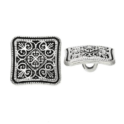 Les perles et bouton box-silver-tone sculpté design carré en métal boutons 13mm