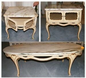 Set Of 3 Vintage Marble Top French Provincial Style