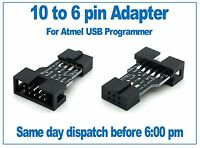 10 way to 6 way Atmel programmer ICSP adapter, suitable for USBasp, USBISP, AVR