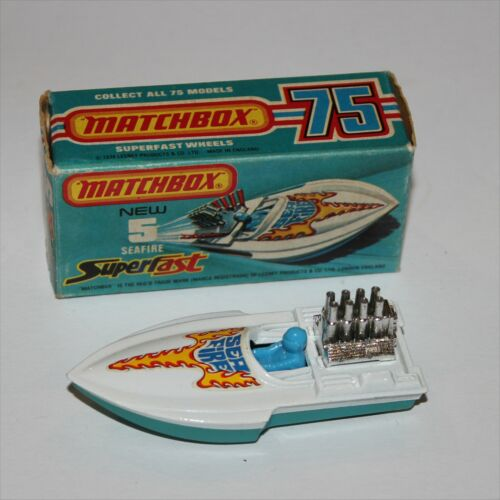 Matchbox Lesney  5 Seafire Speedboat Factory Error Missing Exhausts Mint Boxed