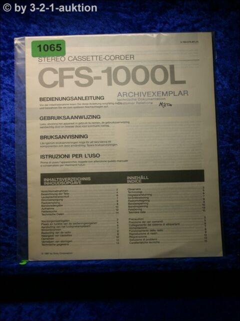 Sony Manual Cfs 33814oz Cassette Corder  1065