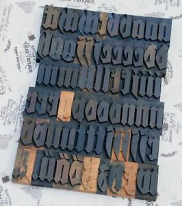 a-z-Alphabet-Fraktur-Holzbuchstaben-72mm-Lettern-Vintage-Industrie-Holzlettern