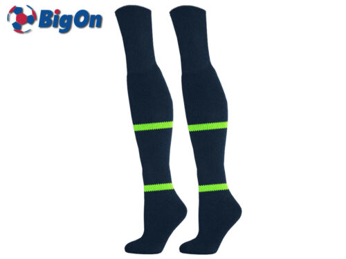 FITNESS SOCKS NAVY//LIME 7-11 LONG NYLON FOOTBALL *CLEARANCE NEW* BIGON