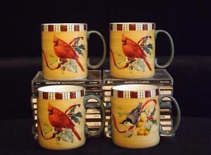 Set-4-NWOT-Lenox-Winter-Greetings-Everyday-Tartan-Mugs-3-Cardinals-1-Nuthatch