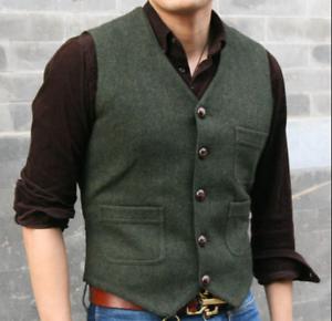 Mens Waistcoat Vest 80% Wool Formal Dress Casual Classic Suit Vest Slim Fit Tops