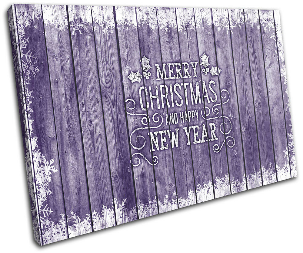 Christmas Decoration Wall Canvas ART Print XMAS Picture Gift Wood 07 violet Chri