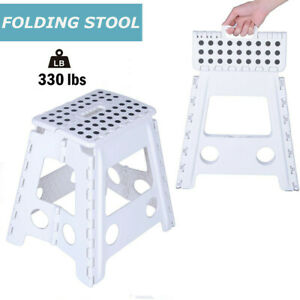 White 18 Inches Non Slip Folding Step Stool For Kids And