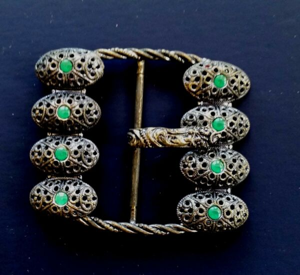 Vintage Fibbie - 594ms Intricato Fibbia In Metallo Con Verde Paillettes Portare Più Convenienza Per Le Persone Nella Loro Vita Quotidiana