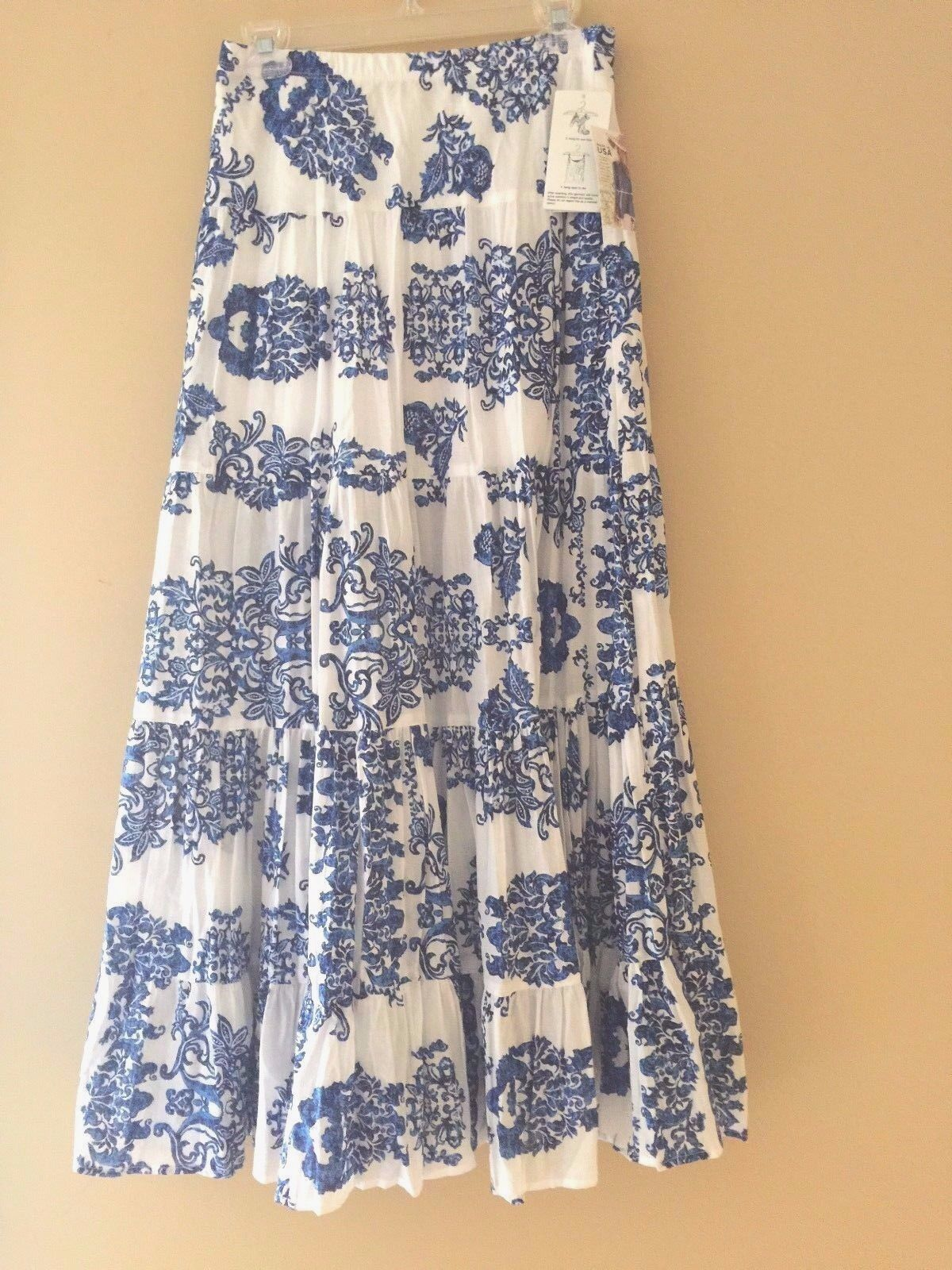 Karen Kane bluee Printed Tiered Maxi Skirt size XS