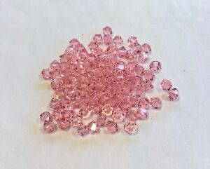 48pc Swarovski Crystal 6mm Rose Bicone 5328 Beads; Pink; October Birthstone SALE