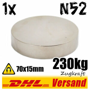 Neodym-Magnet-Scheibe-D70x15mm-N52-Zugkraft-230kg-Diametral-magnetisiert-power