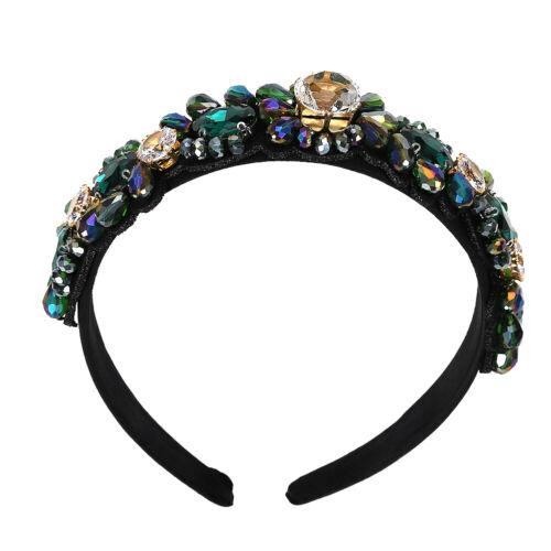 Fashion Ladies Baroque Non-slip Flower Hair Bands Headband Crystal Hair Hoops