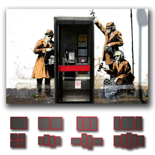 ' Banksy 3 Spies & Phone Box ' Modern Graffiti Street Wall Art Canvas 1 panel