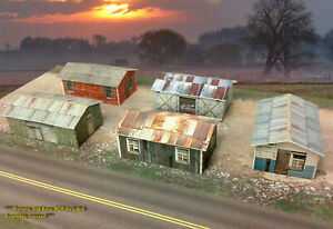 N-Scale-Buildings-5-Weathered-Sheds-Cardstock-kit-set-WP2