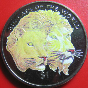 2001-SIERRA-LEONE-1-LIONS-MULTICOLORED-WILDLIFE-BIG-CATS-CU-NI-no-silver-38mm