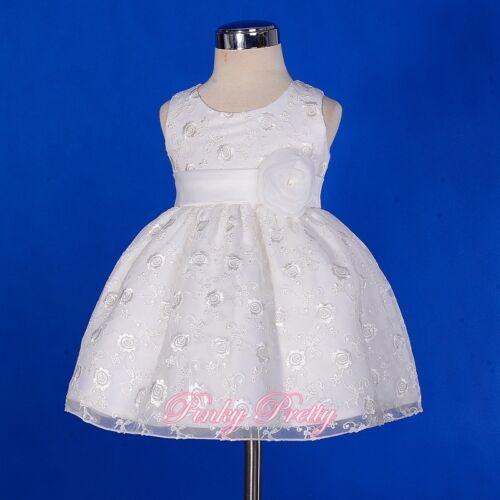 Ivory Satin Floral Embroidery Formal Dress Wedding Flower Girl Size 9m-5y FG272