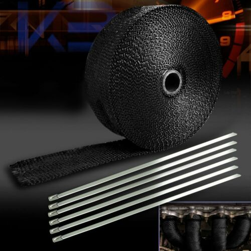 "1/"" 50Ft Roll Black Fiberglass Exhaust Header Pipe Heat Wrap Tape 6 Ties Kit BH"