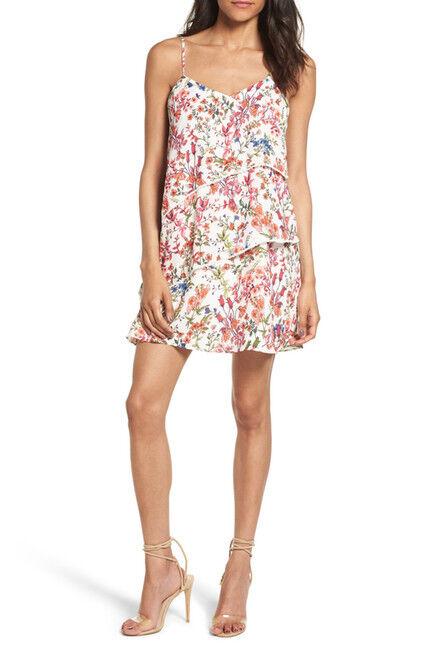 NWT  Devlin floral Print Tierot Minidress Summer Weiß Größe L