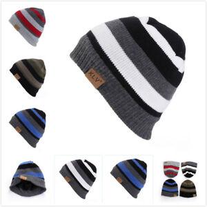 Men-039-s-Women-Beanie-Knit-Ski-Cap-Hip-Hop-Winter-Warm-Unisex-Casual-Stripe-Hat-G