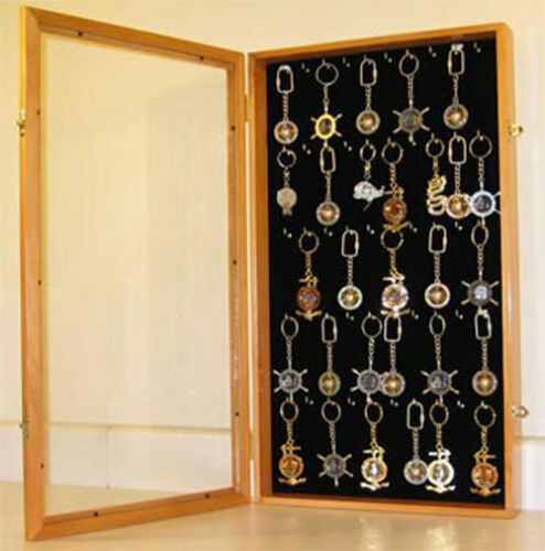 Keychain Display Case Wall Cabinet with glass door, solid wood, Key1BOA