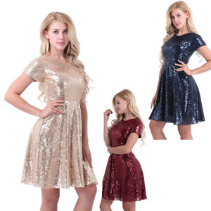 Womens-Sequined-Party-Cocktail-Bridesmaid-Brides-A-Line-Skater-Dress-Evening