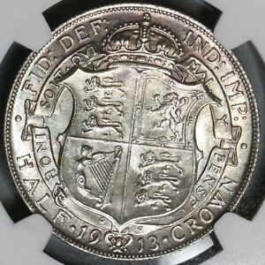 1913-NGC-MS-64-1-2-Crown-George-V-Great-Britain-Silver-Coin-18091610C