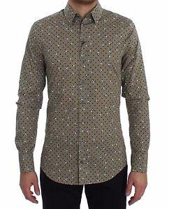 Gabbana 37 us14 Teschio Cotone Camicia Con amp; Sicilia Beige Nuovo Dolce 5 Slim Eqp6w4