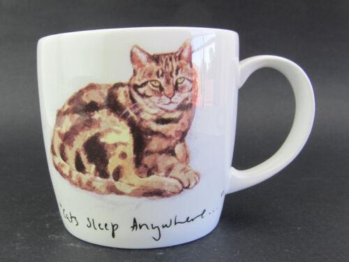 """Cat Mug /""""Cats Sleep Anywhere/""""  Fine Bone China Huddson /& Middleton Made UK"""